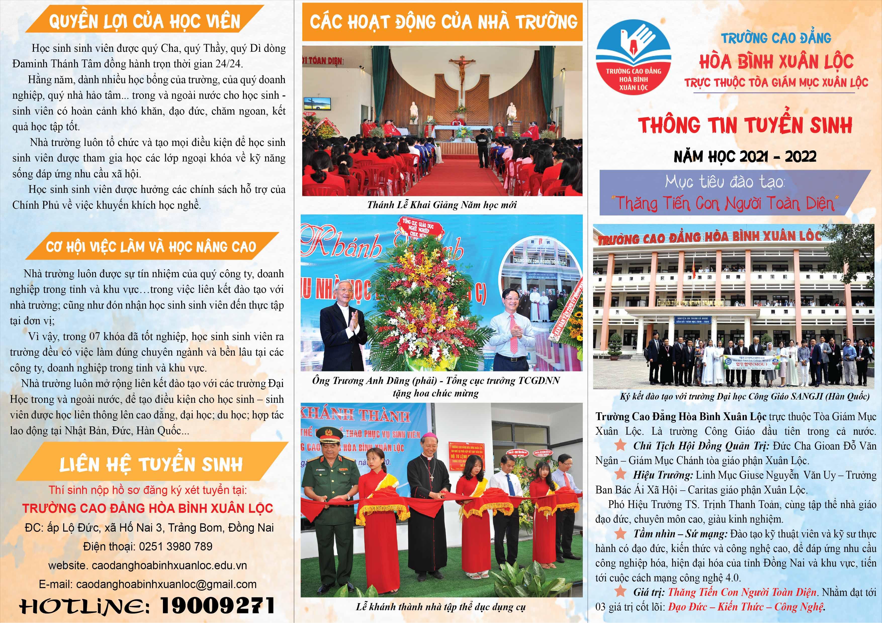 Trường Cao đẳng Hòa Bình Xuân Lộc: Thư Tuyển sinh năm học 2021-2022
