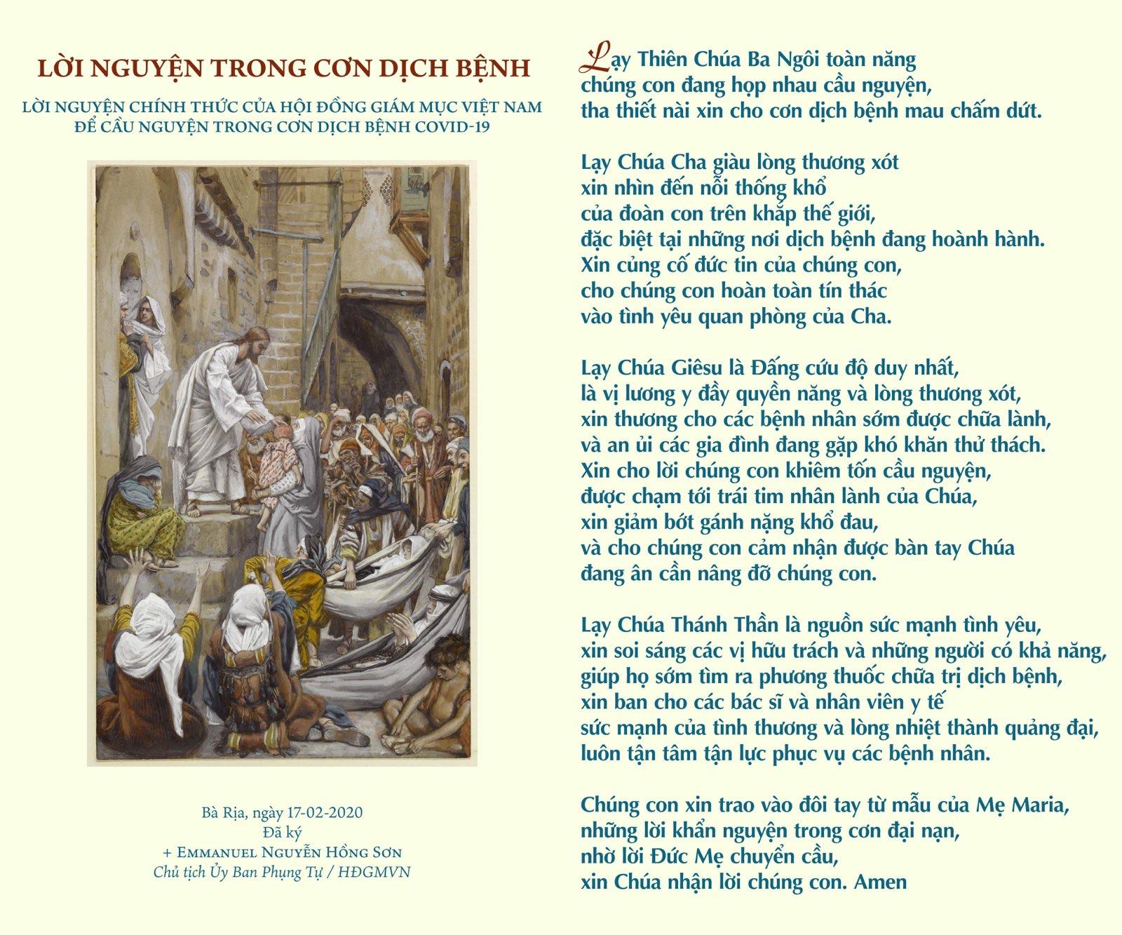 Lời nguyện chính thức của HĐGMVN để cầu nguyện trong cơn dịch bệnh Covid-19