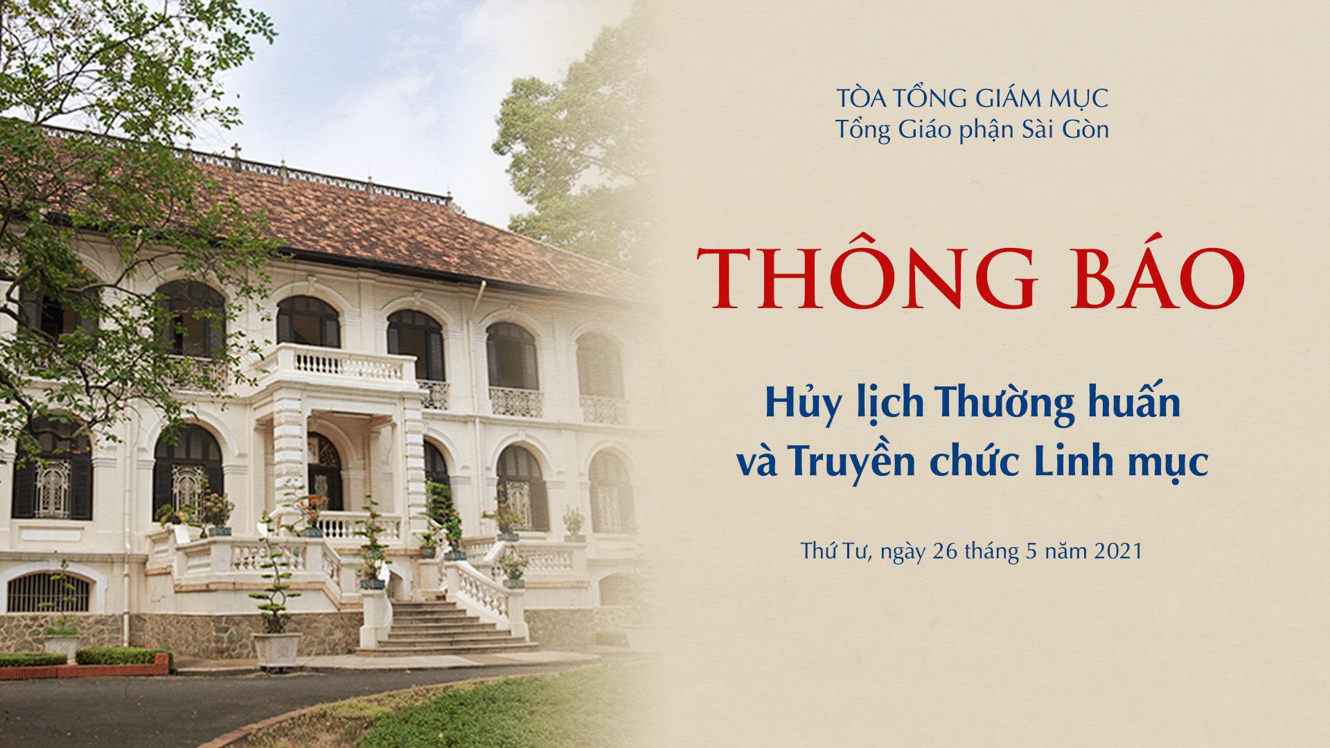 Tòa Tổng Giám mục Sài Gòn: Hủy lịch Thường huấn và Truyền chức Linh mục